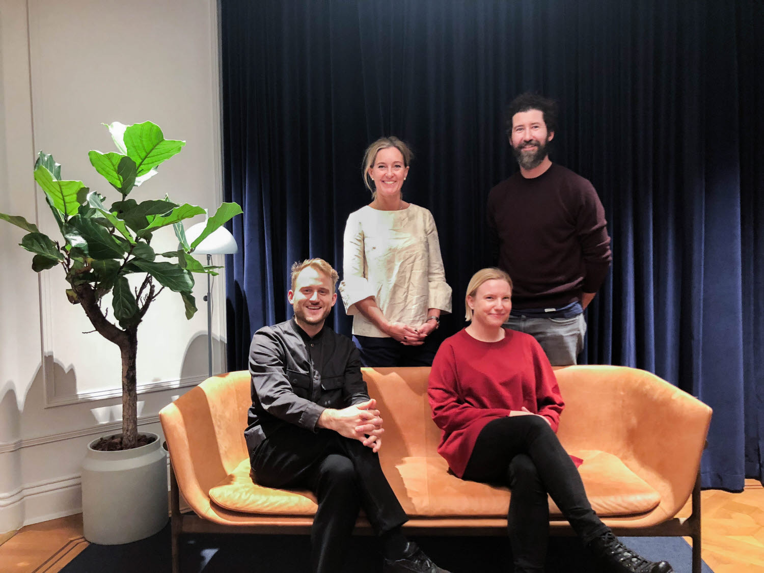 From left to right: Dan Herlin, Client Director, Identity Works, Stina Sandell, Senior Vice President, Sustainability and Communications, Holmen, Sandra Fors, Brand Strategist, Identity Works,Nikolaj Kledzik, Design Director, Identity Works.
