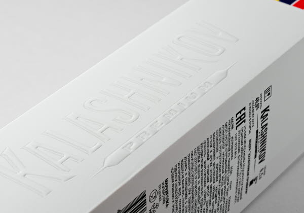 Embossing details on vodka box