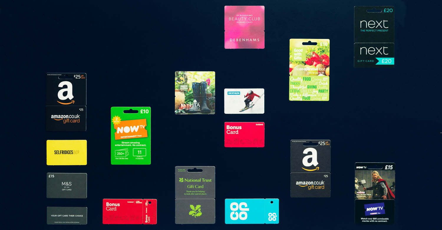 Sustainable paperboard gift cards