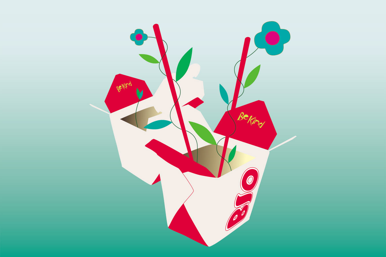 Illustrated Chinese takeout delivery boxes