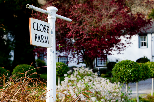 Sign in front of Close Farm