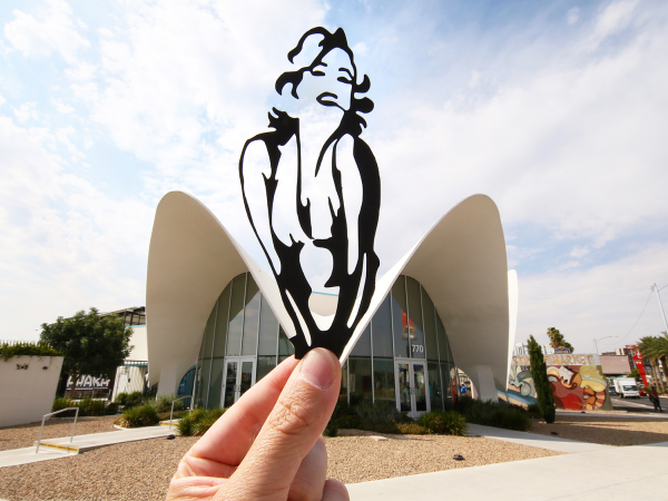Marilyn Monroe paperboard cutout in front of the Neon Museum