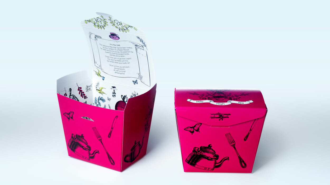 Invercote G packaging for Virgin Atlantic's Mile High Tea