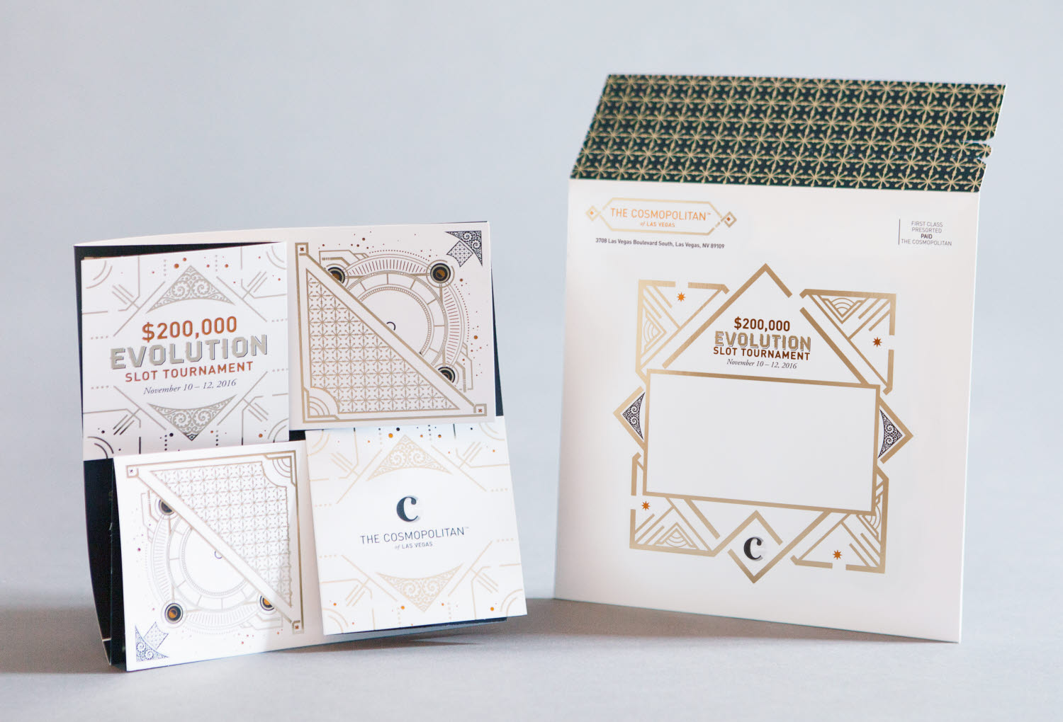 Luxury printed invitations for The Cosmopolitan hotel and casino