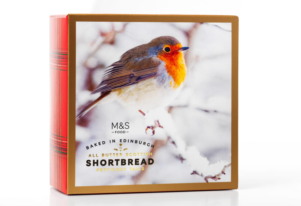 Robin shortbread packaging made of paperboard