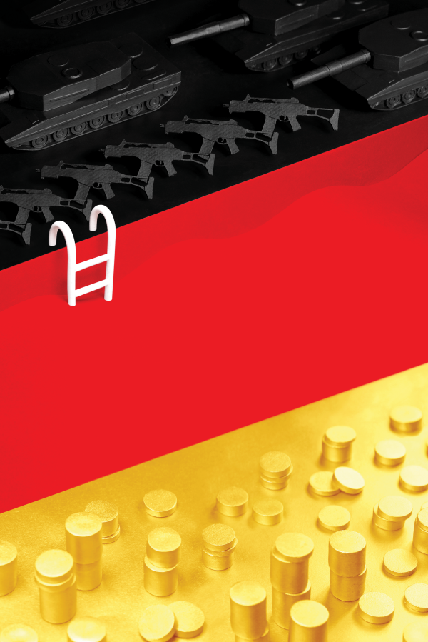Political poster in the shape of German flag