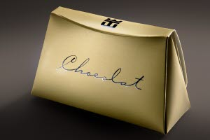 Golden hot foiled chocolate bag