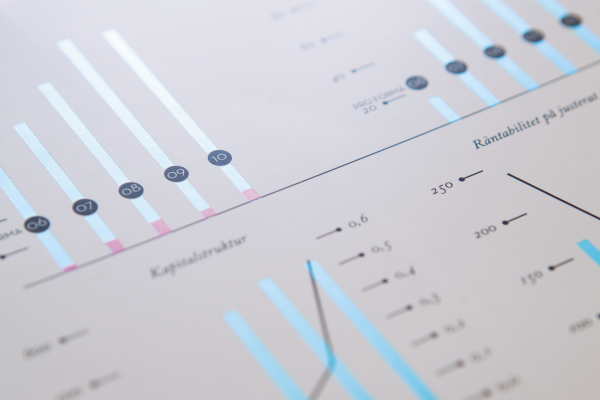 close-up of statistical print on paper