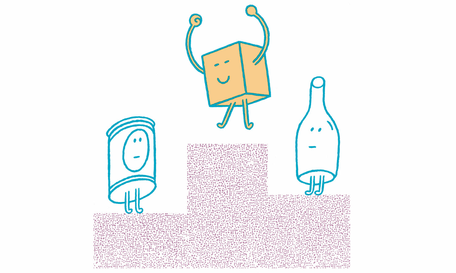 Illustration of paperboard box winning over plastic bottle and metal can