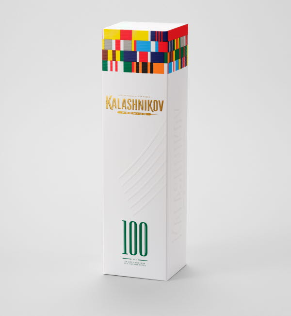 Kalshnikov vodka packaging standing up