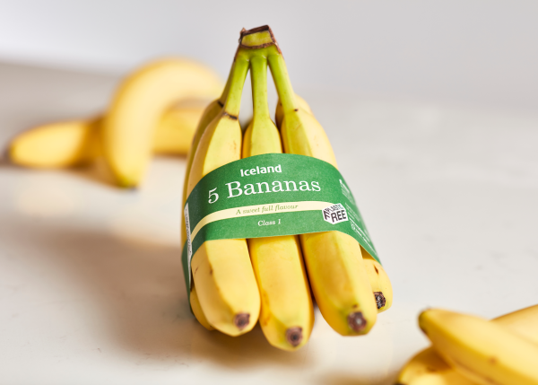 Bananas coated in paperboard