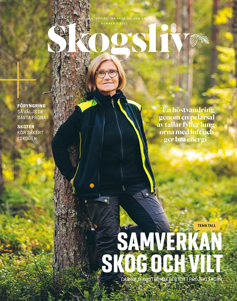 Projektledare Carina O. Boström på omslaget till Skogsliv 2 2021