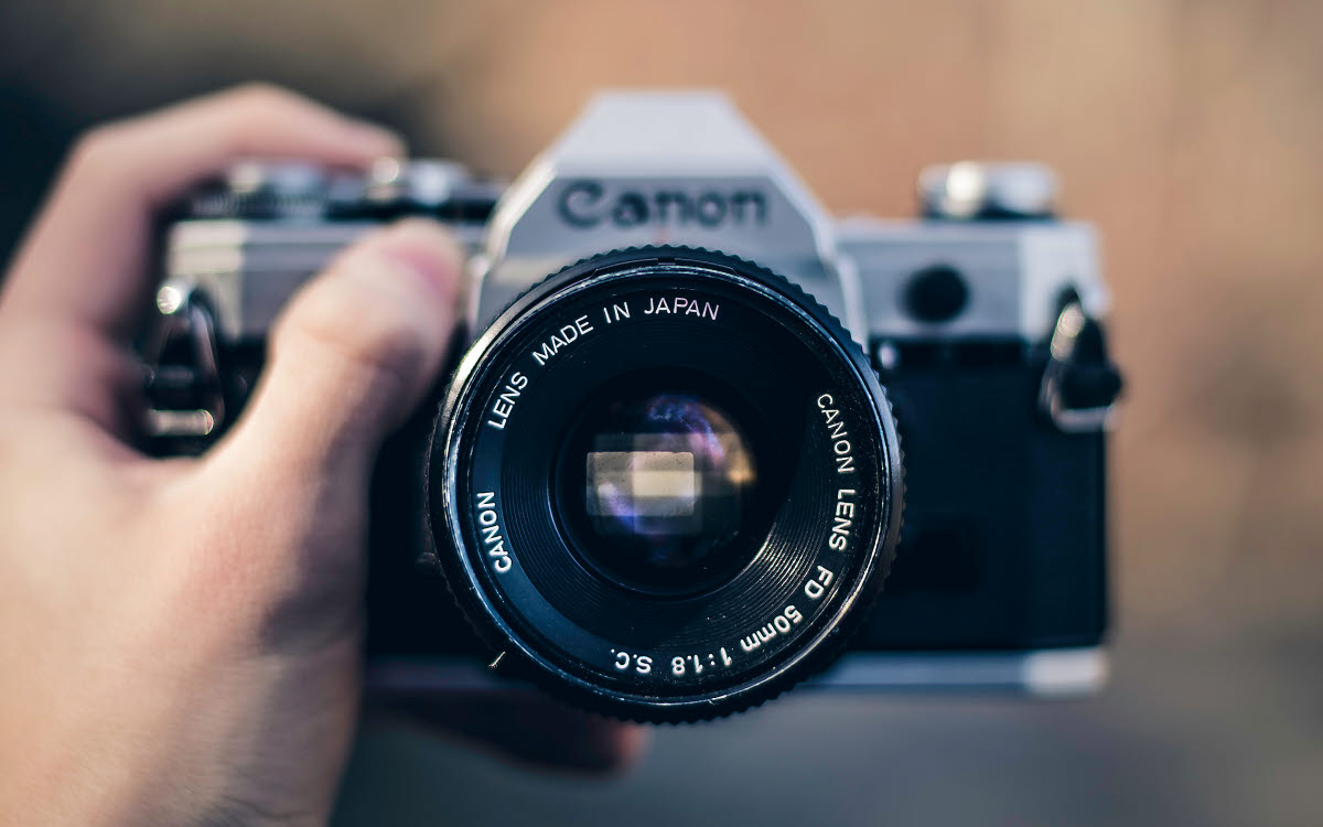 close-up of an old-school canon camera