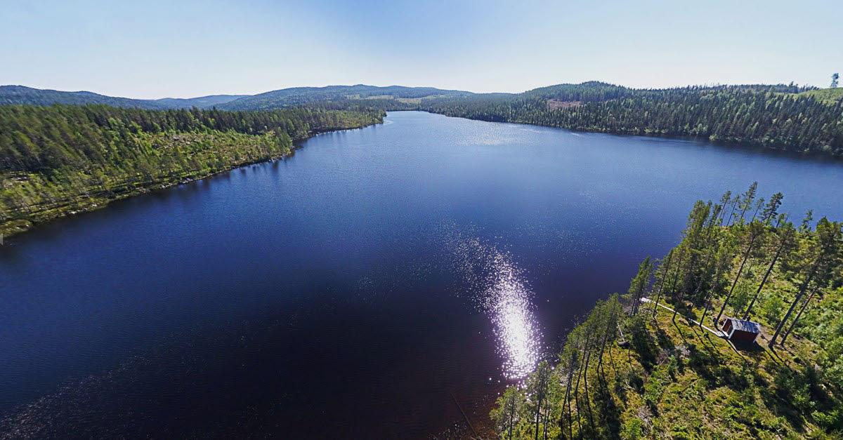 Drönarbild över kunskapsskogen Kunnådalen med en sjö i fokus. Till höger syns en röd liten stuga.