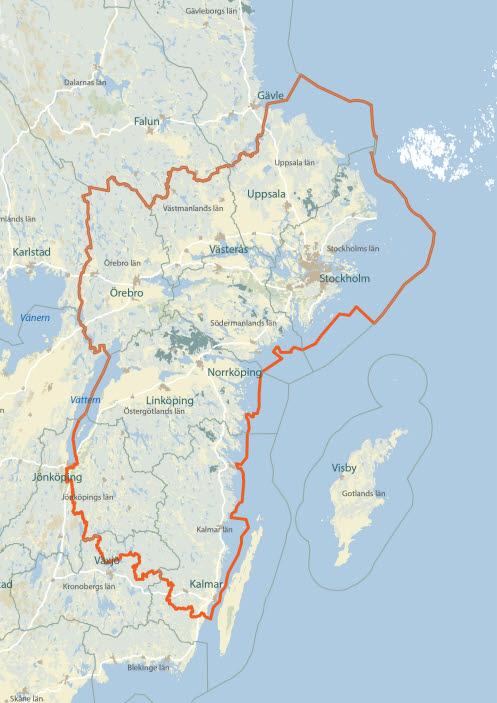 Karta som visar område för granbarkborreanalysen