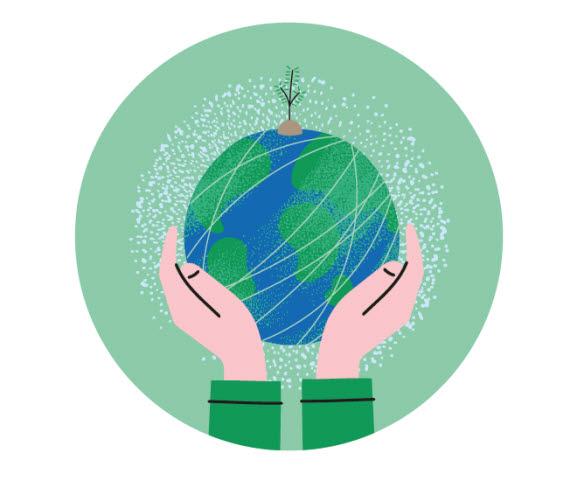 earth illustration, sustainability Iggesund