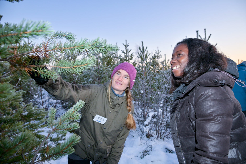 Sara Nilsson, Holmen Skogs verksamhetsutvecklare skogsvård, pratar skogsbruk med Liberalernas partiledare Nyamko Sabuni. Foto: Leif  Wikberg.
