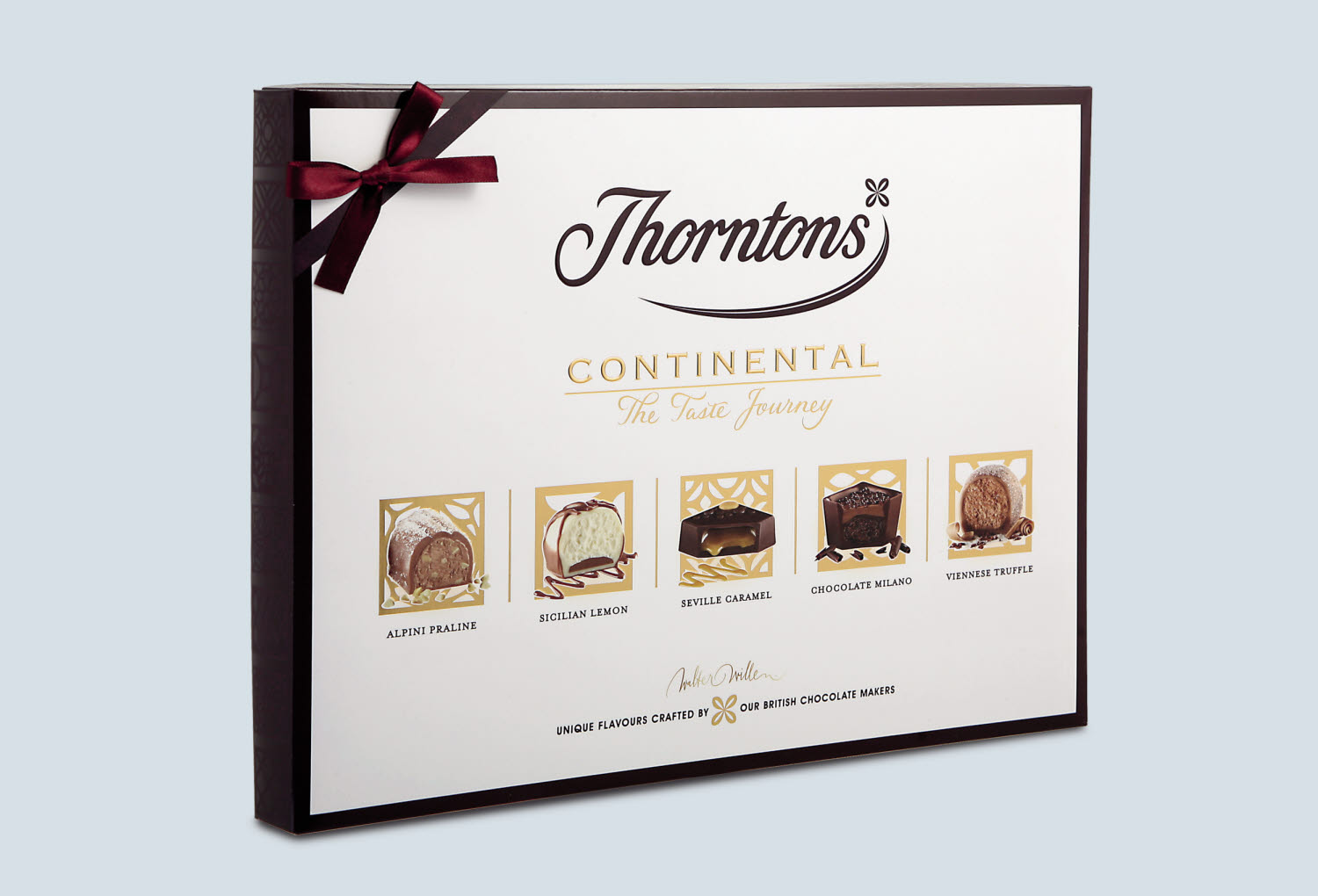 Thorntons confectionary packaging