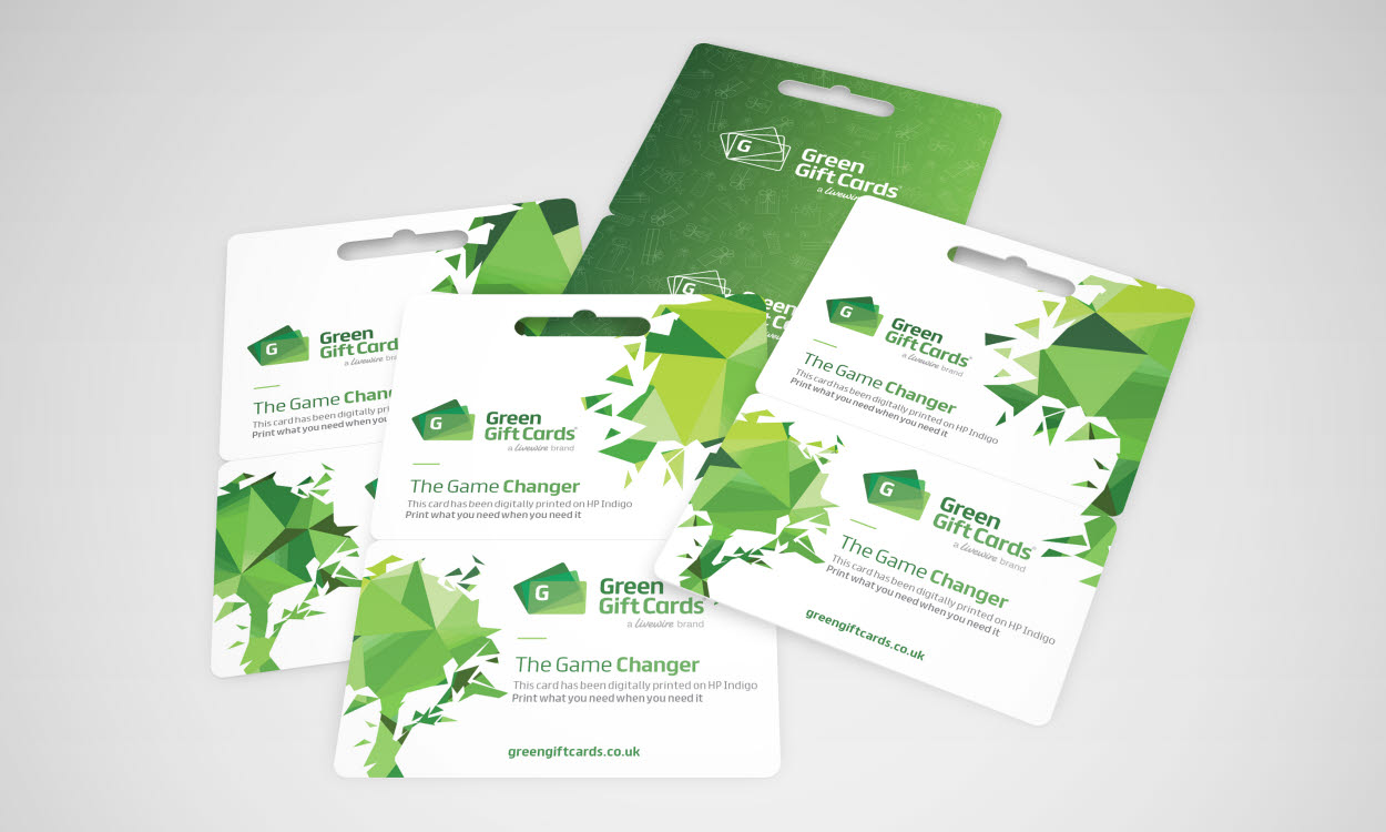Digitally printed green gift cards