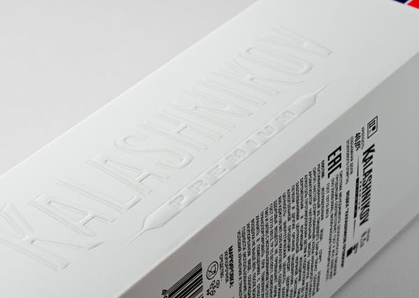 Close-up of embossing on Kalashnikov vodka box