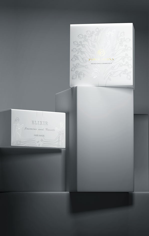 Gray and white paperboard boxes for Elixir by Peter Henna