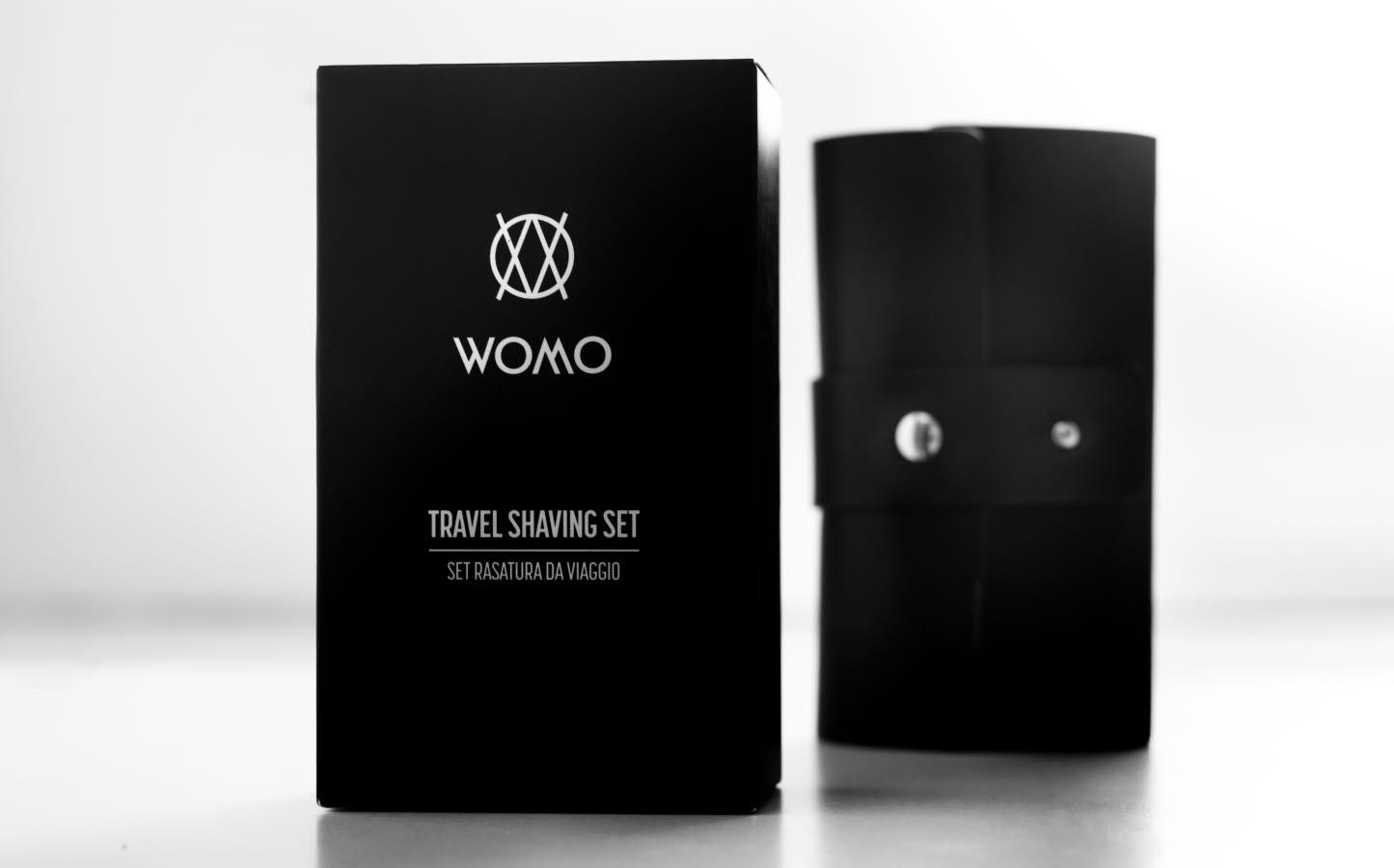 WOMO travel shaving kit packaging