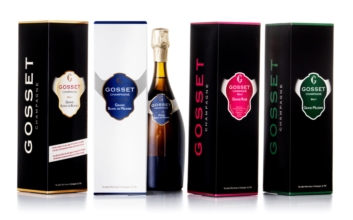 four gosset champagne packaging