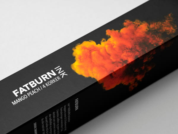 Fatburn Ink cap packaging for mango and peach flavour