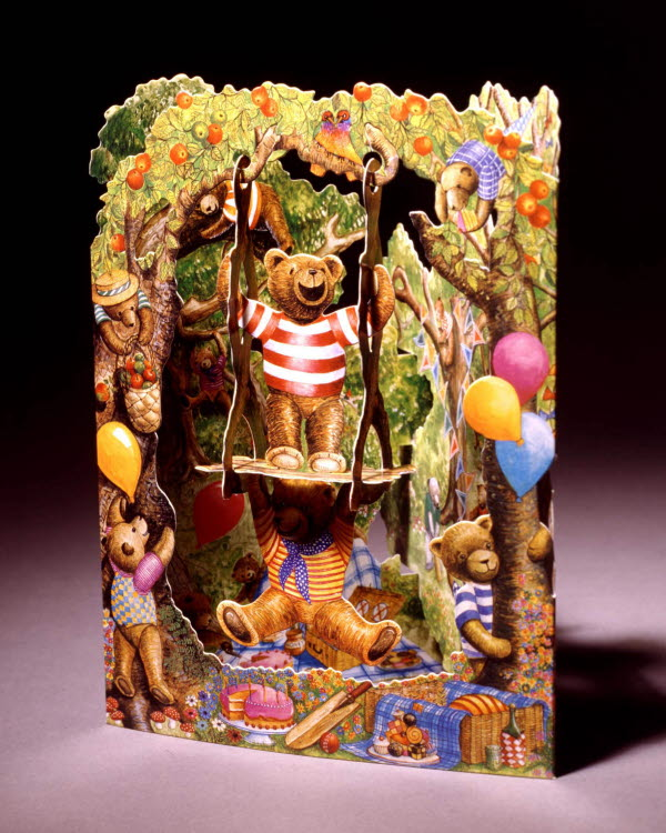 Santoro 3D greeting card of bears on a swing in apple tree