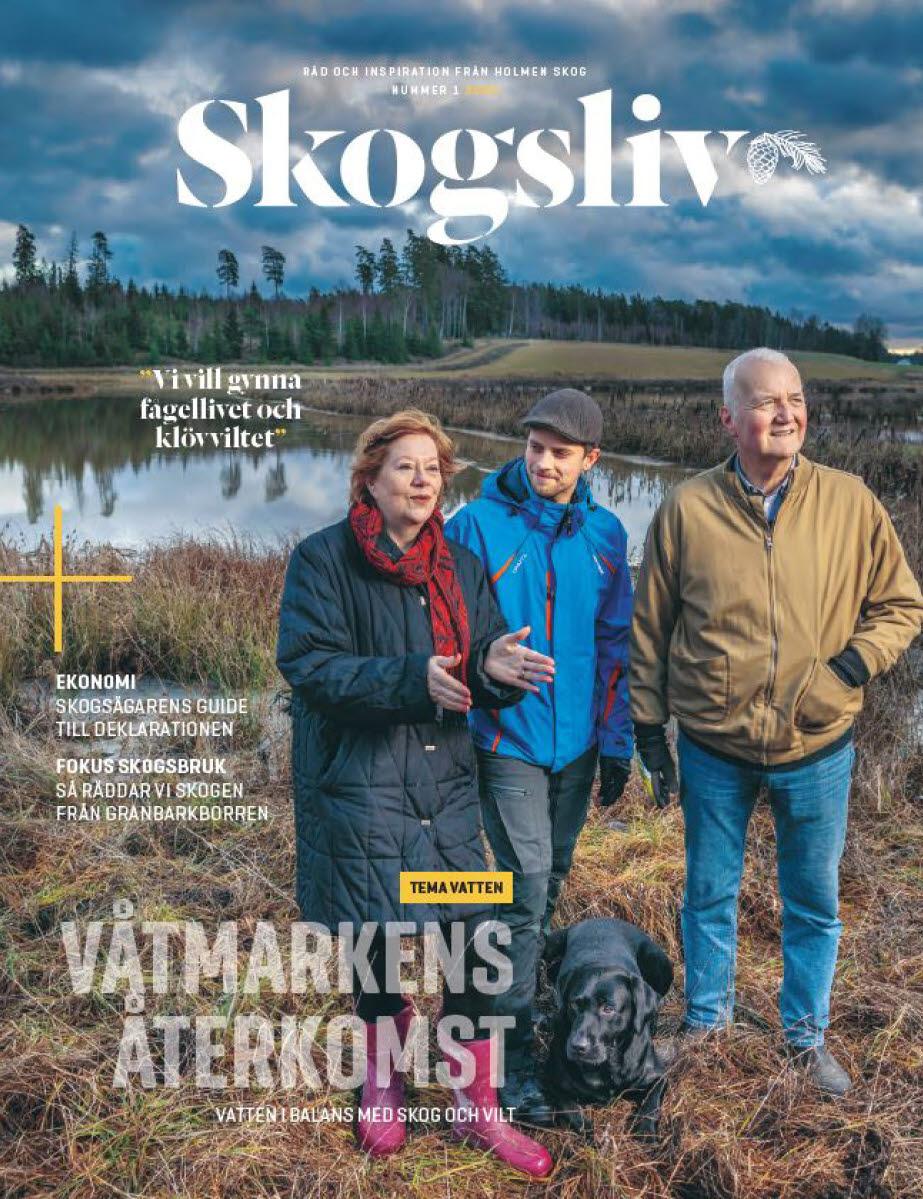 Omslaget på Skogsliv nr 1 2020 med skogsägare vid våtmark