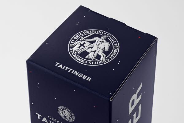 Close-up of top on Taittinger Nocturne champagne box