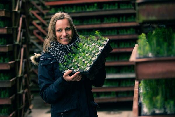 Jessica Tommila at plant nursery