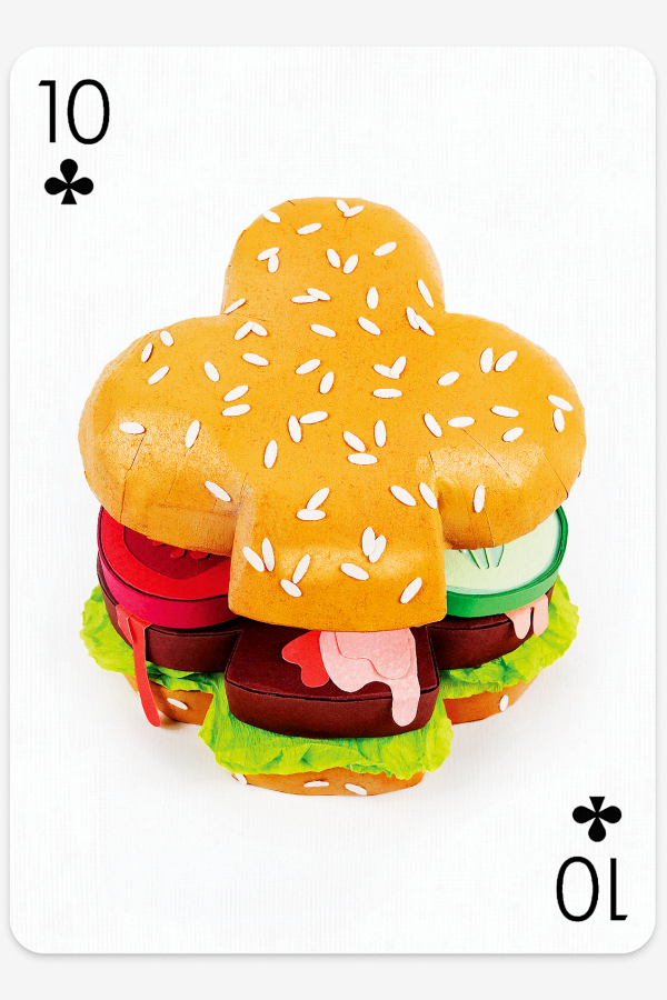 Illustration for Playing Arts card game. Hamburger in the shape of the symbol for clubs.