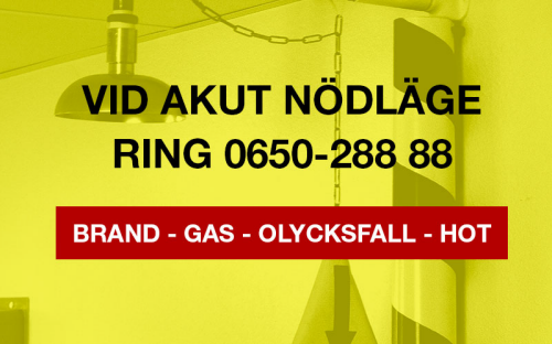 Yellow ICE graphics with phonenumber for gatekeeper in Swedish