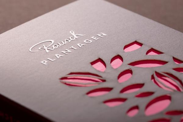 Close-up of Rausch Plantagen packaging