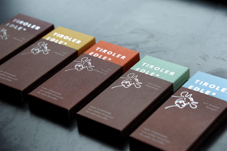 Tyrol Grey milk chocolate packaging