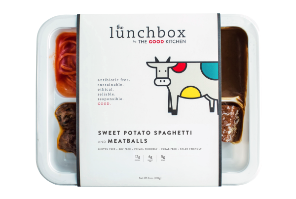 The Good Kitchen lunchbox packaging for spagetti and meatballs