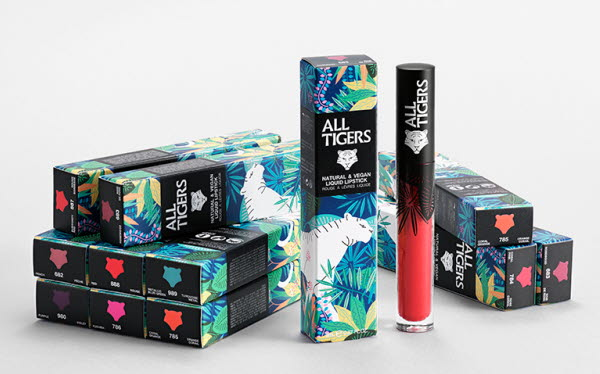 All Tigers product line with multiple boxes and lipsticks