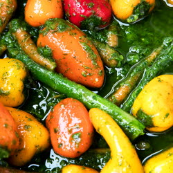 Close-up of sauted vegetables