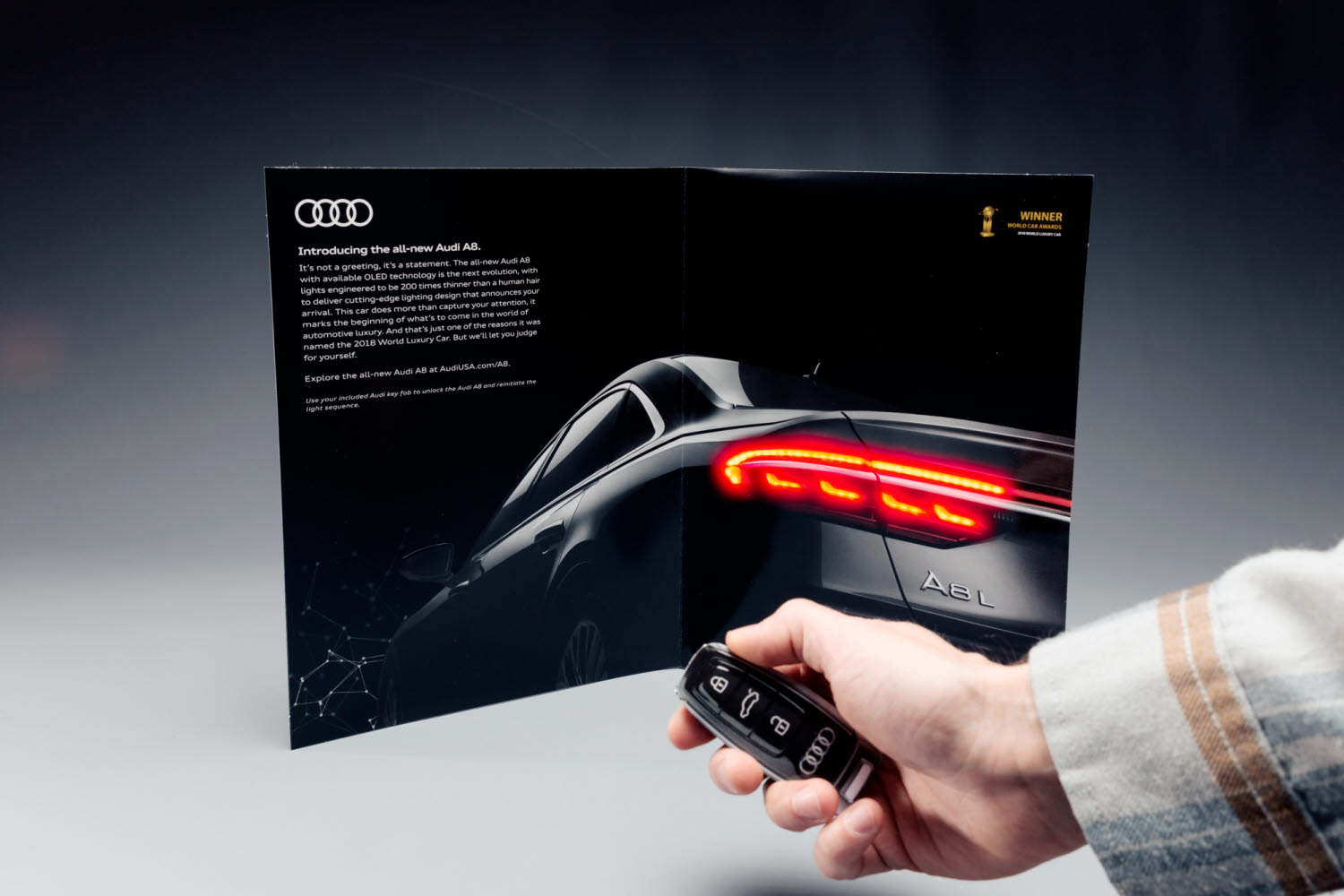 Audi A8 advertising insert for Departures magazine
