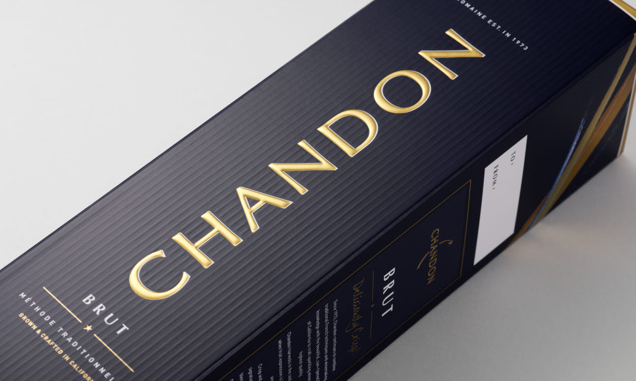 Invercote Duo packaging for Chandon Brut and Chandon Brut Rosé sparkling wines