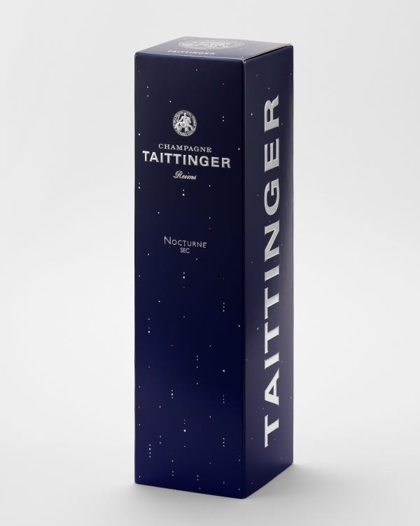 Taittinger Nocturne champagne box standing up