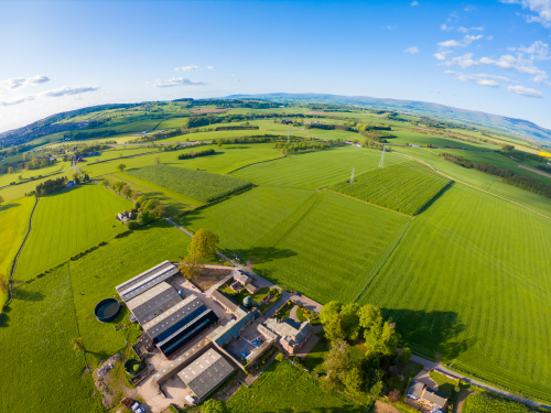 Birds eye view over Penrith farm