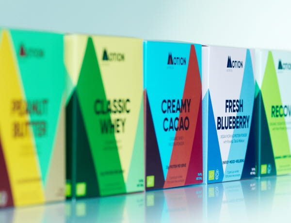Food supplements boxes in different colours for different flavours