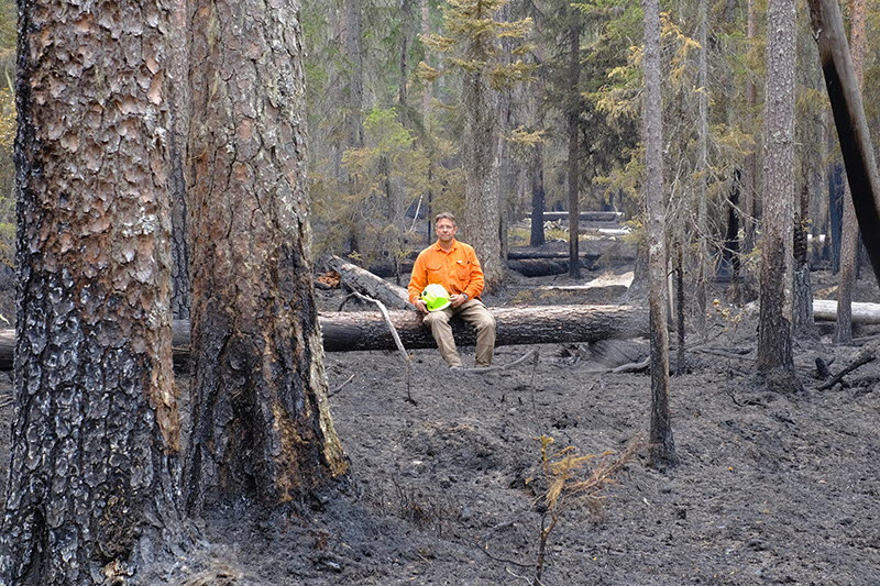 David Rönnblom i brunnen skog, naturvård Holmen Skog