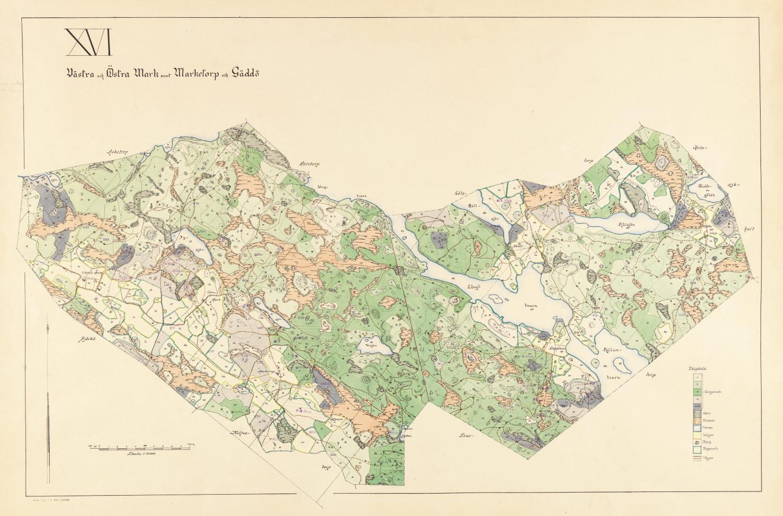 Fin handritad indelningskarta från 1915 som visar ett område söder om Rejmyre i Östergötland.
