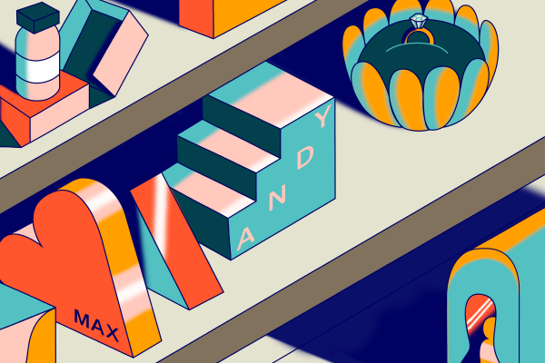 Illustration in vibrant colours of different printed products on shelf
