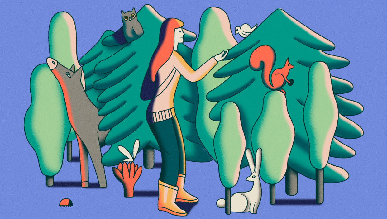 Colourful illustration of woman with animals in the forest